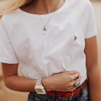 Rosebud Embroidered Organic Cotton T Shirt