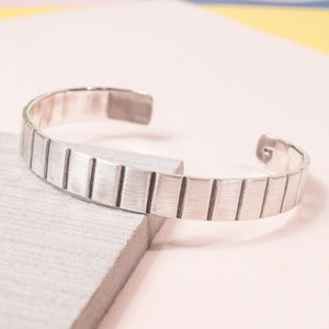 Men's Silver Oxi Stripe Cuff
