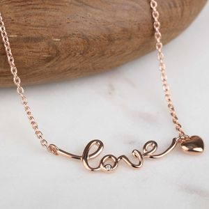 Rose Gold Love And Heart Necklace