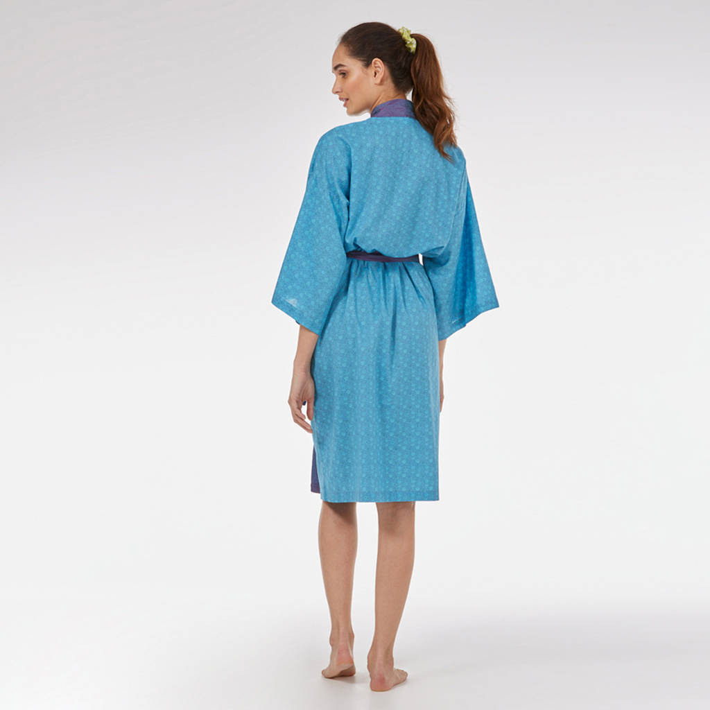 kimono dressing gown in blue mini orchid print by caro london ...