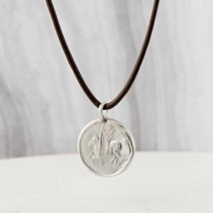 Men's Sterling Silver Pegasus Amulet Necklace