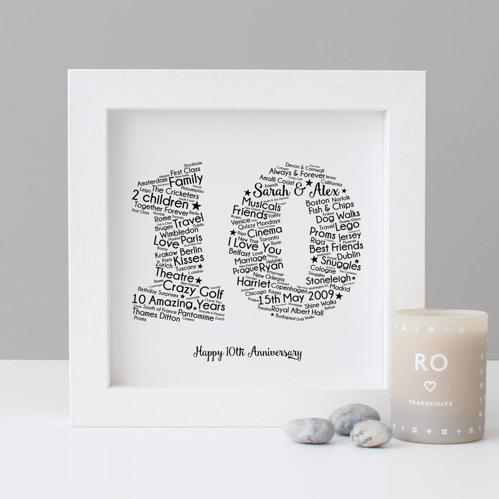 Personalised 10th Wedding Anniversary Gift By Hope And Love Notonthehighstreet Com