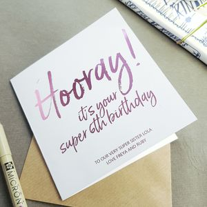 Hooray It's Your 6th Birthday | Foiled Card - children's birthday cards