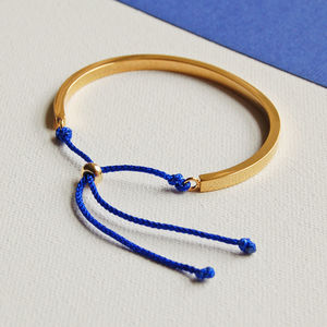 Gold Cuff Bangle With Royal Blue Cord
