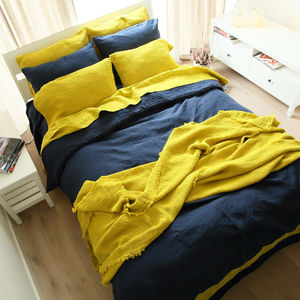 Citrine Stone Washed Bed Set Linen - bedroom