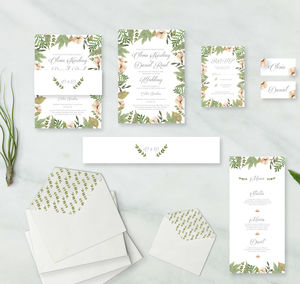 Secret Garden Invitation Range - order of service & programs