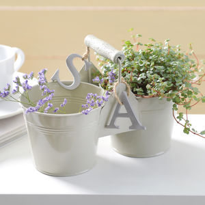 Personalised Double Bucket With Handle - pots & planters