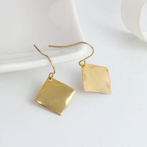 Gold Plated Diamond Shaped Drop Earrings