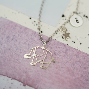 Personalised Geometric Elephant Charm Necklace