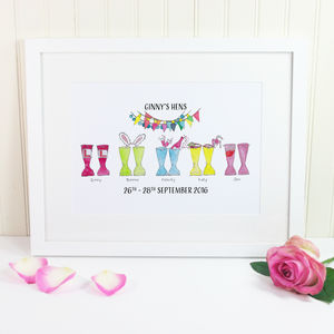 Personalised Hen Party Welly Boot Print