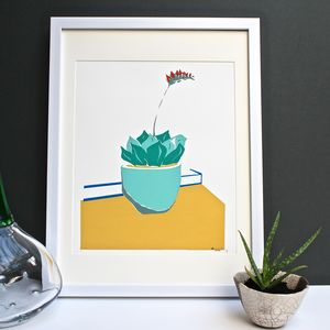 Potted Succulent Plant Screen Print - posters & prints