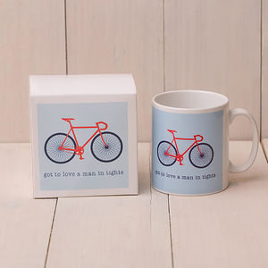 Got To Love A Man In Tights Bicycle Mug And Box - gifts for cyclists