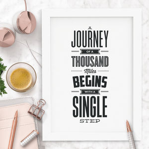 'A Journey Of A Thousand Miles' Motivational Quote - winter sale