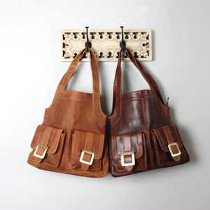 Leather Pocket Shopper Handbag - shoulder bags