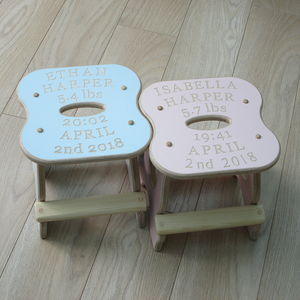 Twins Engraved Baby Stools - baby's room