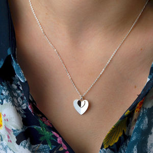 Personalised Silver And Rose Gold Heart Necklace