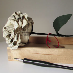 Personalised Single Stem Paper Rose - flowers, plants & vases