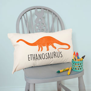 Personalised Velveteen Dinosaur Children's Cushion - baby's room