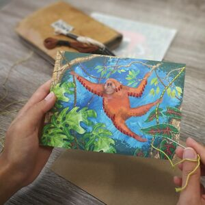 Embroider Me Orangutan Greeting Card