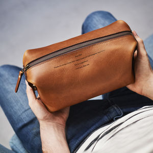 Personal Message Leather Luxe Wash Bag - gifts for husband or boyfriend