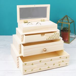 Stacked Wooden Geometric Jewellery Box - storage