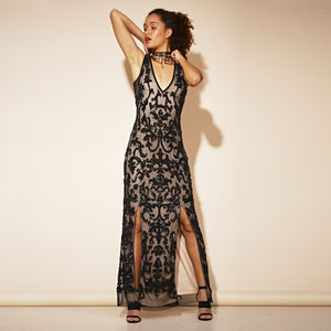 Abena Sequin Black Maxi Dress