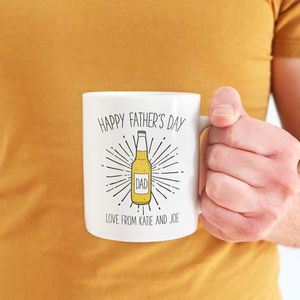Personalised Beer Bottle 'Happy Father's Day' Mug