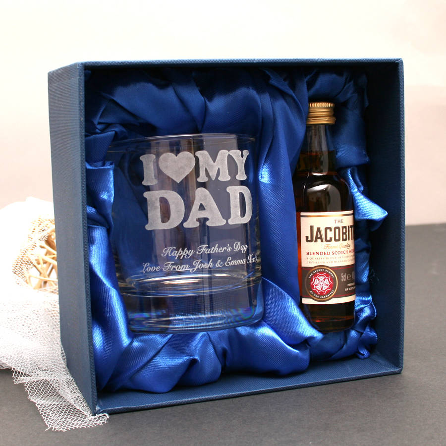 mini alcohol gift set for dads with personalised glass by ...