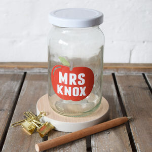 Personalised Teacher Apple Treat Jar - kitchen