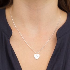 Personalised Marci Sterling Silver Heart Necklace - necklaces & pendants