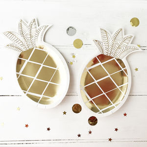 Tropical Pineapple Gold Foil Paper Party Plates - baby & child sale