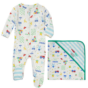 Baby Shower Sleepsuit With Blanket Farm Gift Set
