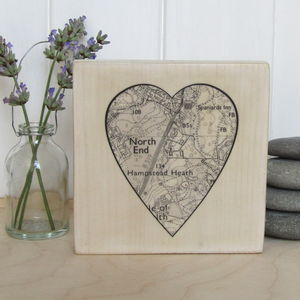 Customised Heart Shaped Map Print