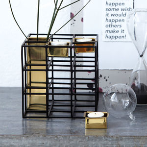 Cubed Vase And Candle Stand - new in home