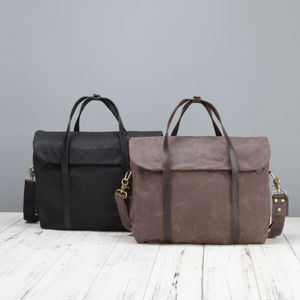Waxed Canvas Laptop Messenger Bag - laptop bags & cases