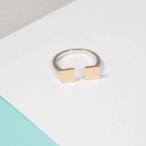 Block Square Two Tone Ring