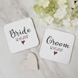 Set Of Personalised Bride And Groom Coasters - new in wedding styling