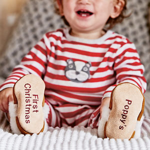Personalised Children's Sheepskin Slippers - christmas with free uk delivery