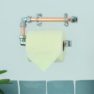 Industrial Copper And Chrome Toilet Roll Holder