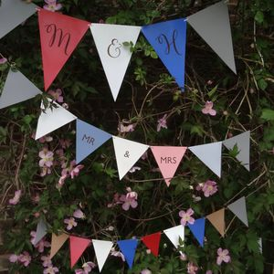 Personalised Colourful Leather Wedding Bunting