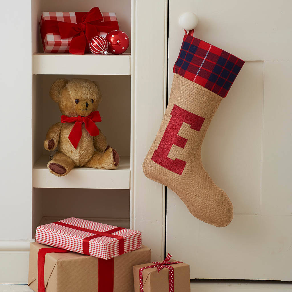 Christmas Stocking With Glitter Initial By Harrow Green Notonthehighstreet