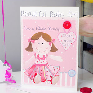 Personalised Rag Doll New Baby Girl Card - new baby cards