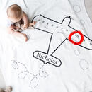 Personalised Milestone Airplane Baby Cotton Blanket