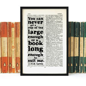 'Tea And Books' Quote Book Page Print - literature