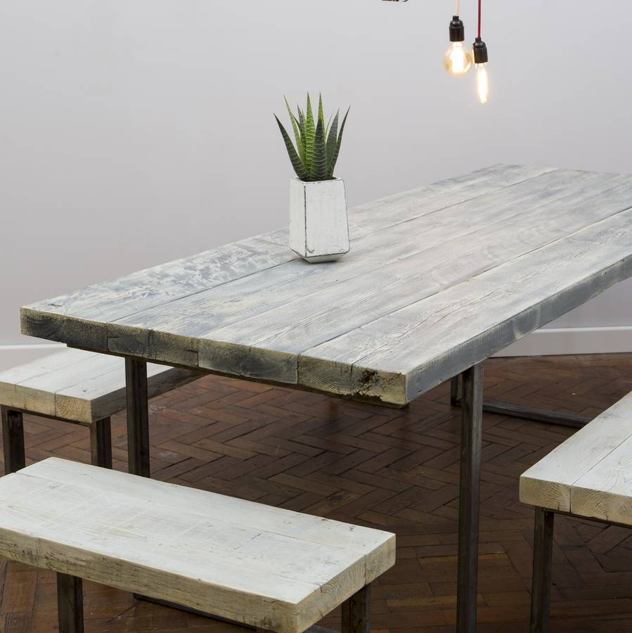 White Wash Reclaimed Wooden Table By Hand And Craft