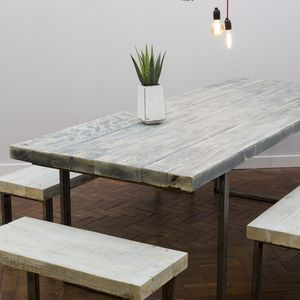 White Wash Reclaimed Wooden Table - furniture