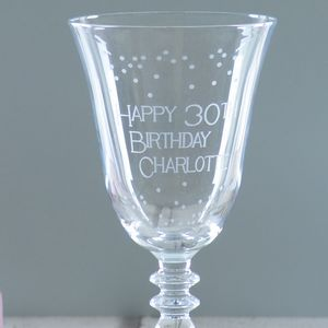 Happy 30th Birthday Personalised Wine Glass