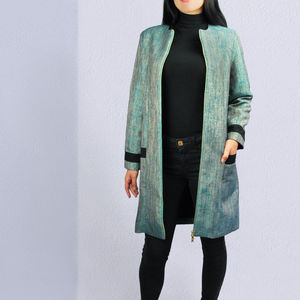 Imperia Smart Metallic Blue Coat - fashion sale