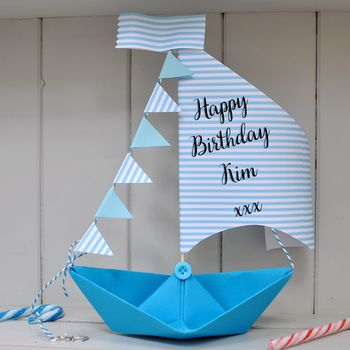Personalised Birthday Sail Boat Card