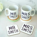 Personalised Mr And Mrs Mug And Coaster Set